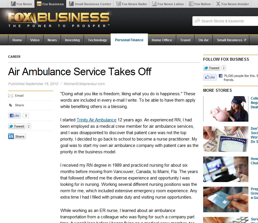 Trinity International Air Ambulances Service - FoxBusiness.com