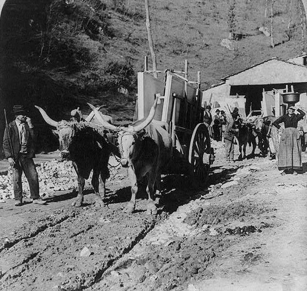 Перевозка мрамора. Каррара, Италия, 1902г.
