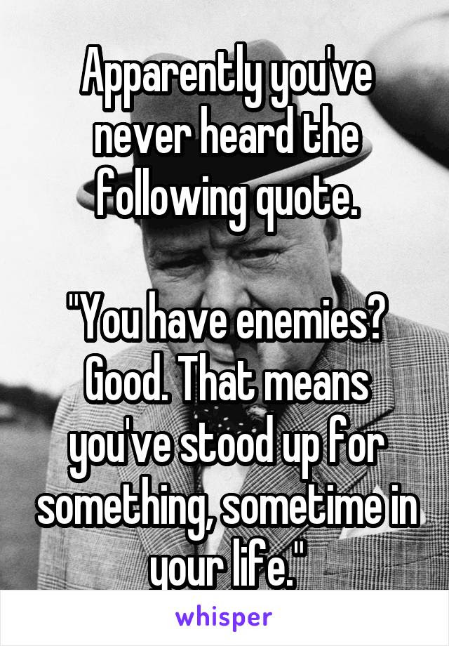 Apparently Youve Never Heard The Following Quote You Have Enemies
