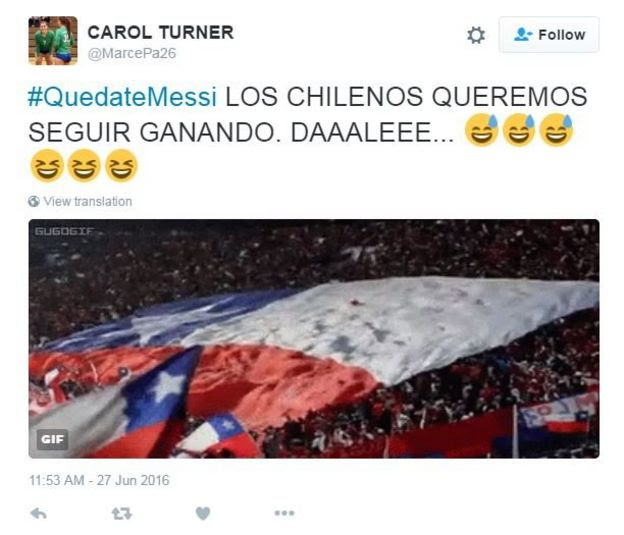 Tweet translated from Spanish reads, Hashtag, stay Messi, we Chileans want to keep winning, please!