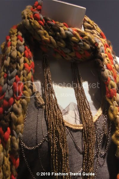 layered necklaces and scarves