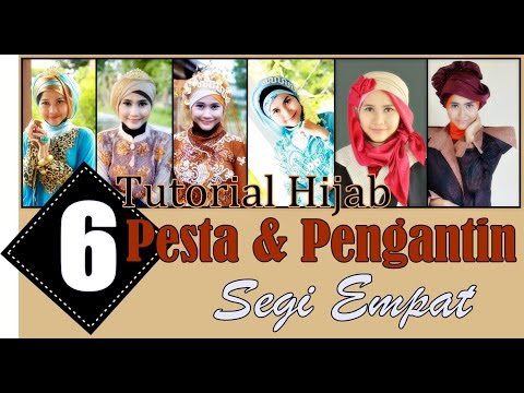 VIDEO : 6 simple hijab tutorials for wedding and party - this hijab tutorial reveals 6 ways how to don hijab for party and wedding wearing square cotton and satin.  square hijab is  ...