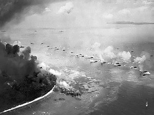 First wave of LVTs moves toward the invasion beaches - Peleliu.jpg