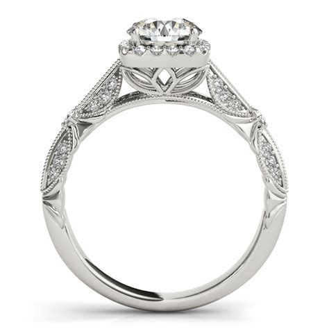 Engagement Ring  Vintage Style Halo Knife Edge Engagement