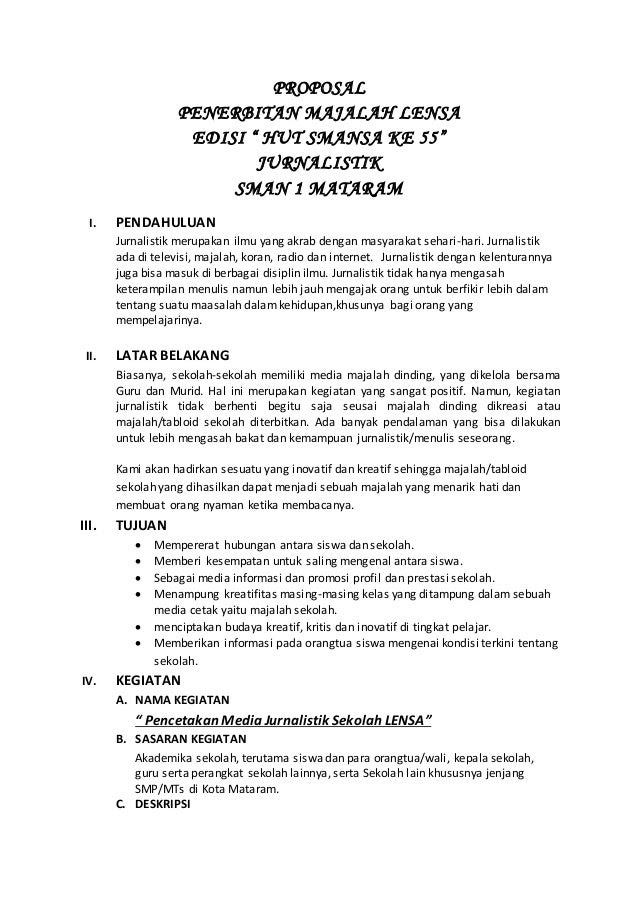 Proposal Penerbitan Majalah Lensa
