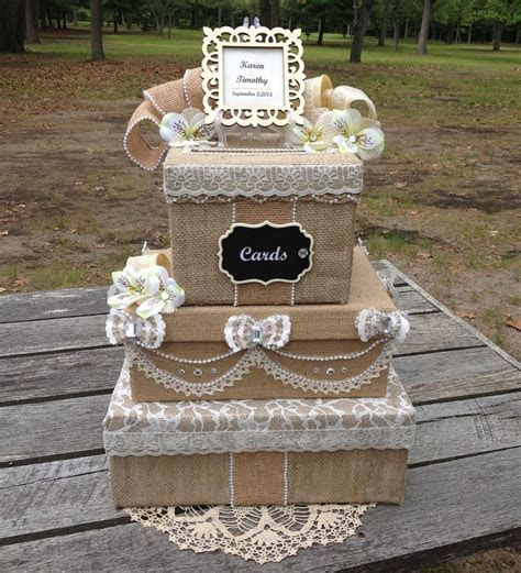 Victorian Burlap and Lace Wedding Money Card Box rustic