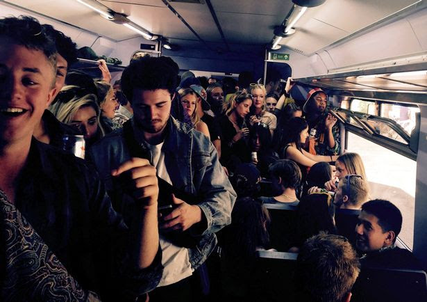 The train carriage full of students who later abandoned the train and walked down the track