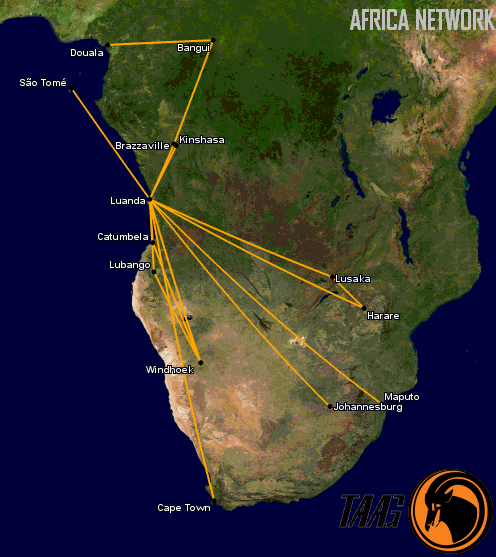 TAAG Angolan Airlines Africa Network
