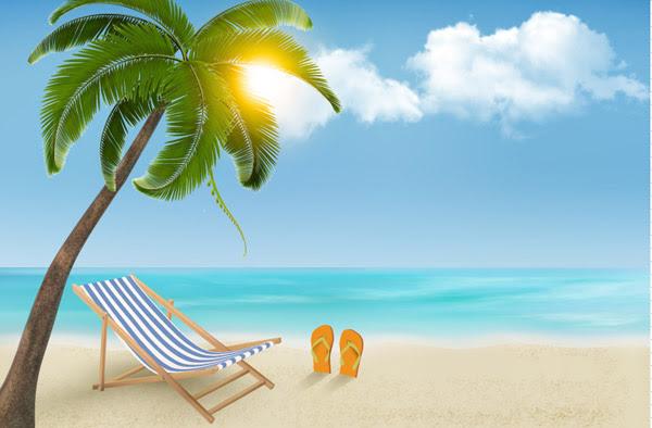 Musim Panas Pantai Sunny Latar Belakang-Vector Latar