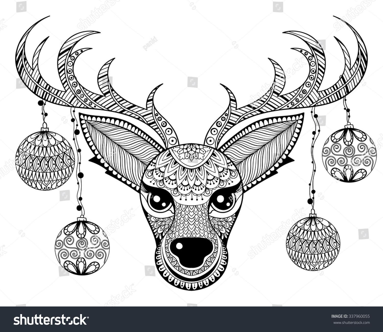 Zentangle Vector Reindeer Face Christmas Decoration Stock ...
