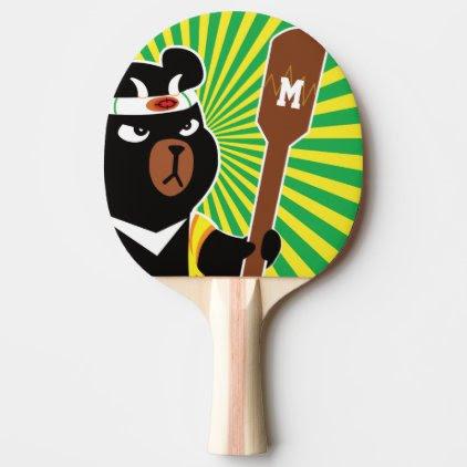 Monogram. Kawaii Cute Ninja Bear for Nerd Geeks. Ping Pong Paddle