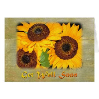 Get Well Soon Sunflowers Greeting Card