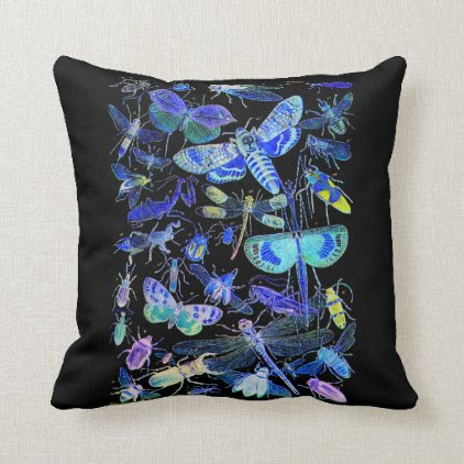 Reversible Creepy Crawlies Insects Throw Pillow
