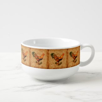 Rustic Country Rooster Ornate Soup Bowl With Handle