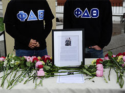 Students at Rutgers University in New Brunswick, N.J., pay their  respects on October 1, 2010 to freshman student Tyler Clementi, 18,  whose homoesexual encounter was surreptitiously filmed and broadcast  over the Internet. Distraught, Clementi leapt to his death from the  George Washington Bridge.