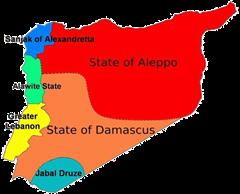 Mappa del mandato francese sulla Siria e il Libano