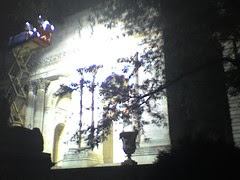 NYPL façade lit by klieg lights