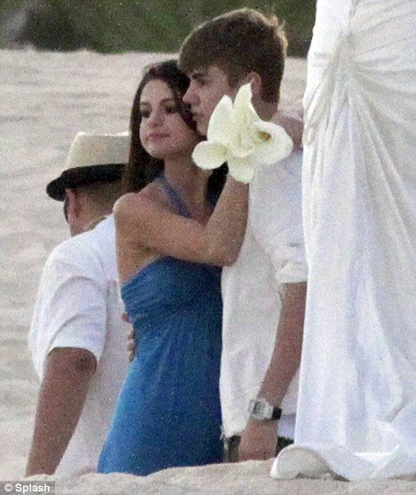 Supportive: Bieber was by Gomez' side as she performed bridesmaid's duties last year in Mexico