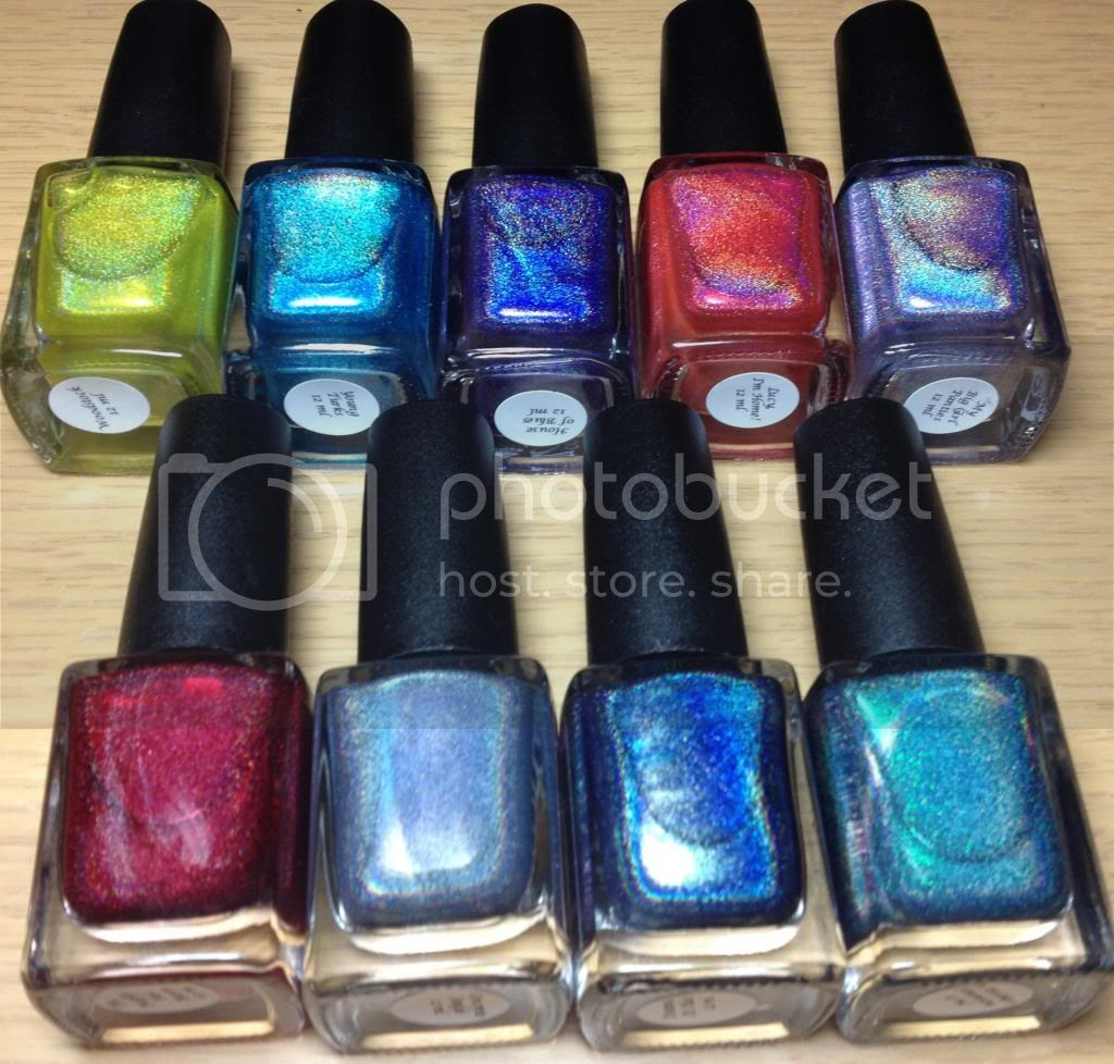 CbL Colors by Llarowe Spring Frenzy Nail Mail Holo Woodstock, Young Turks, In Another Dimension The Mighty Red Baron, House of Blues, My Big Girl Panties, Lucy, I'm Home, Deanna It's Blue and Concrete Jungle