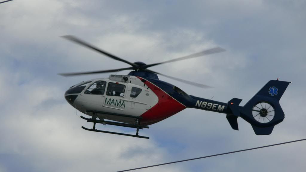 An air ambulance landing at Angel Medical Center