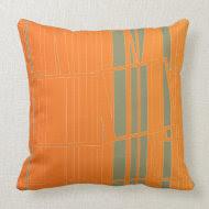 Orange, Gray Retro pattern stripes Pillow throwpillow