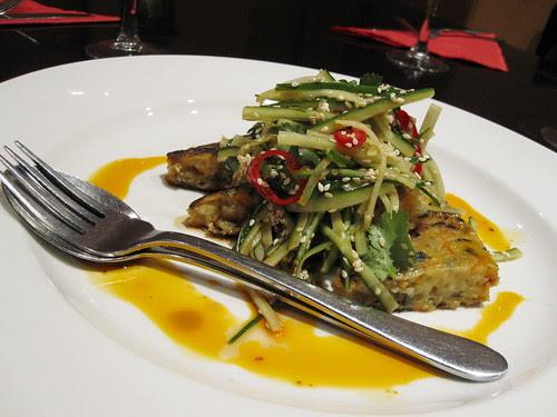 rice gnocci in a coriander sauce