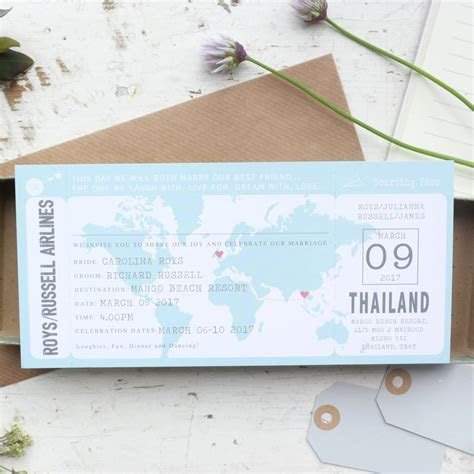 boarding pass map wedding invitation by paper and inc