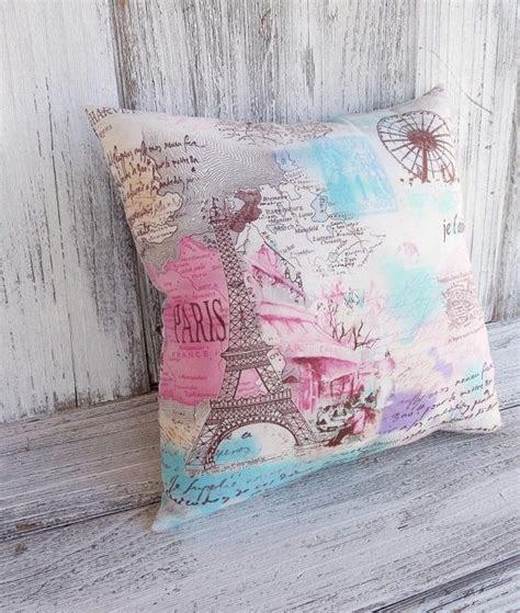 paris pillow cushion blue  pink french vintage travel
