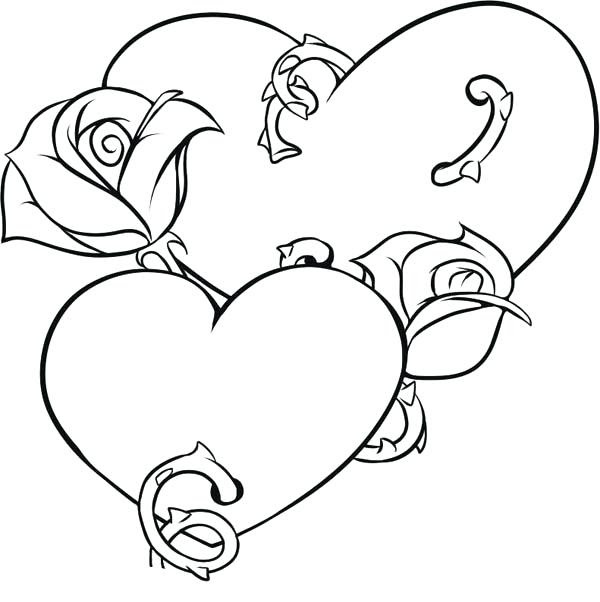 Hearts And Roses Drawing At Getdrawingscom Free For Personal Use