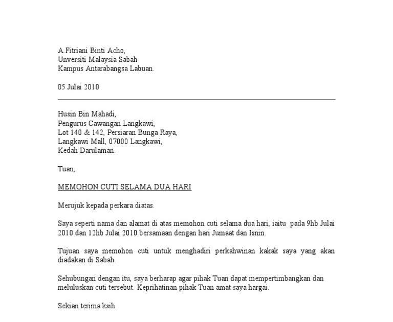 Surat Rasmi Permohonan Cuti Kerja Resepi Book J