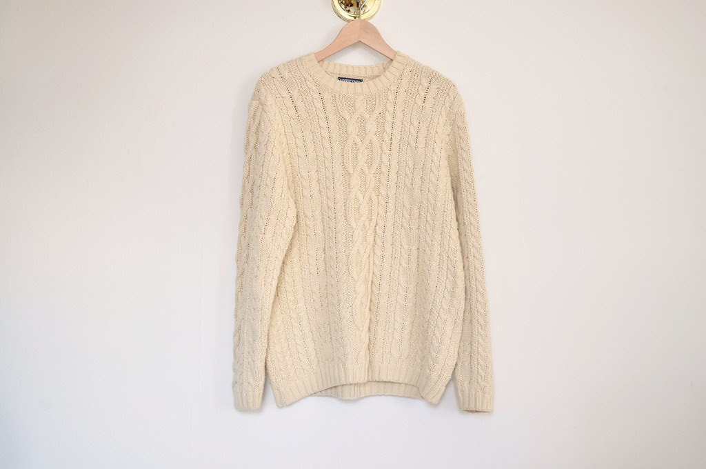 vintage oversized oatmeal cableknit sweater