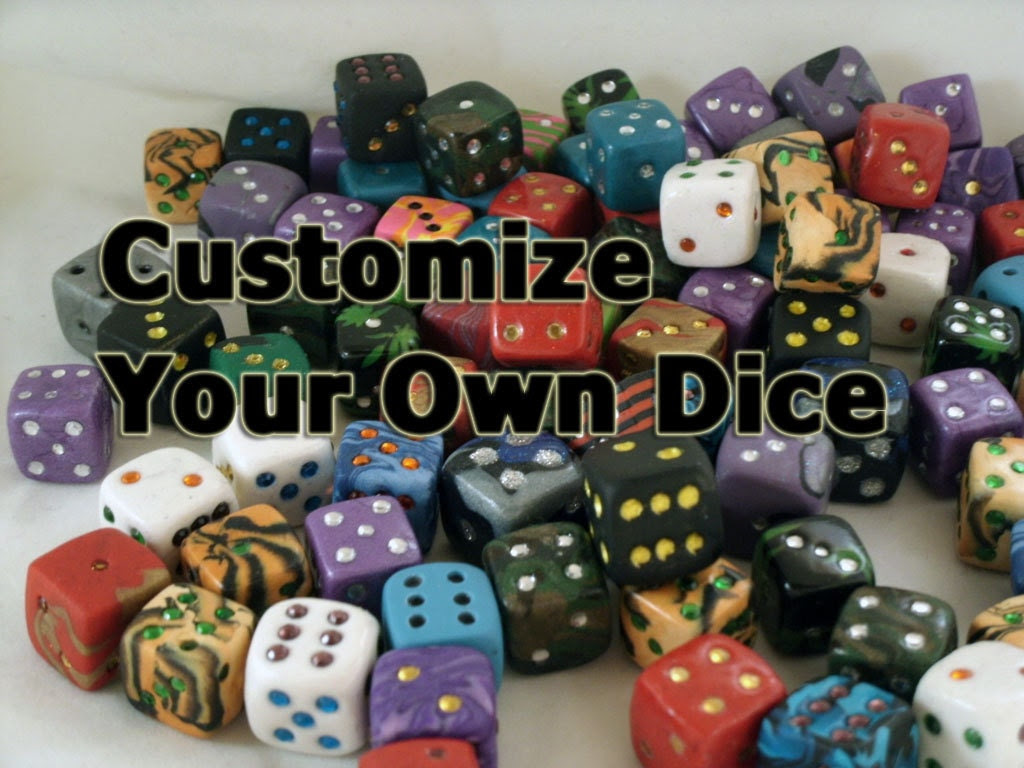 Custom Dice - Choose Your Own Colors - Any colors with colored rhinestone pips.  Made to order.