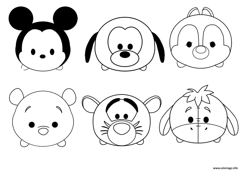 Coloriage Tsum Tsum Disney Facile Enfant Simple Jecoloriecom