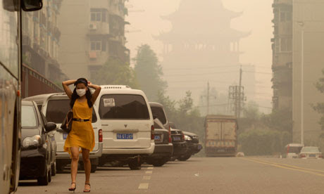 A hazy day in Wuhan, Hubei province in China
