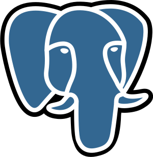 The blue/white elephant logo of the PostgreSQL...