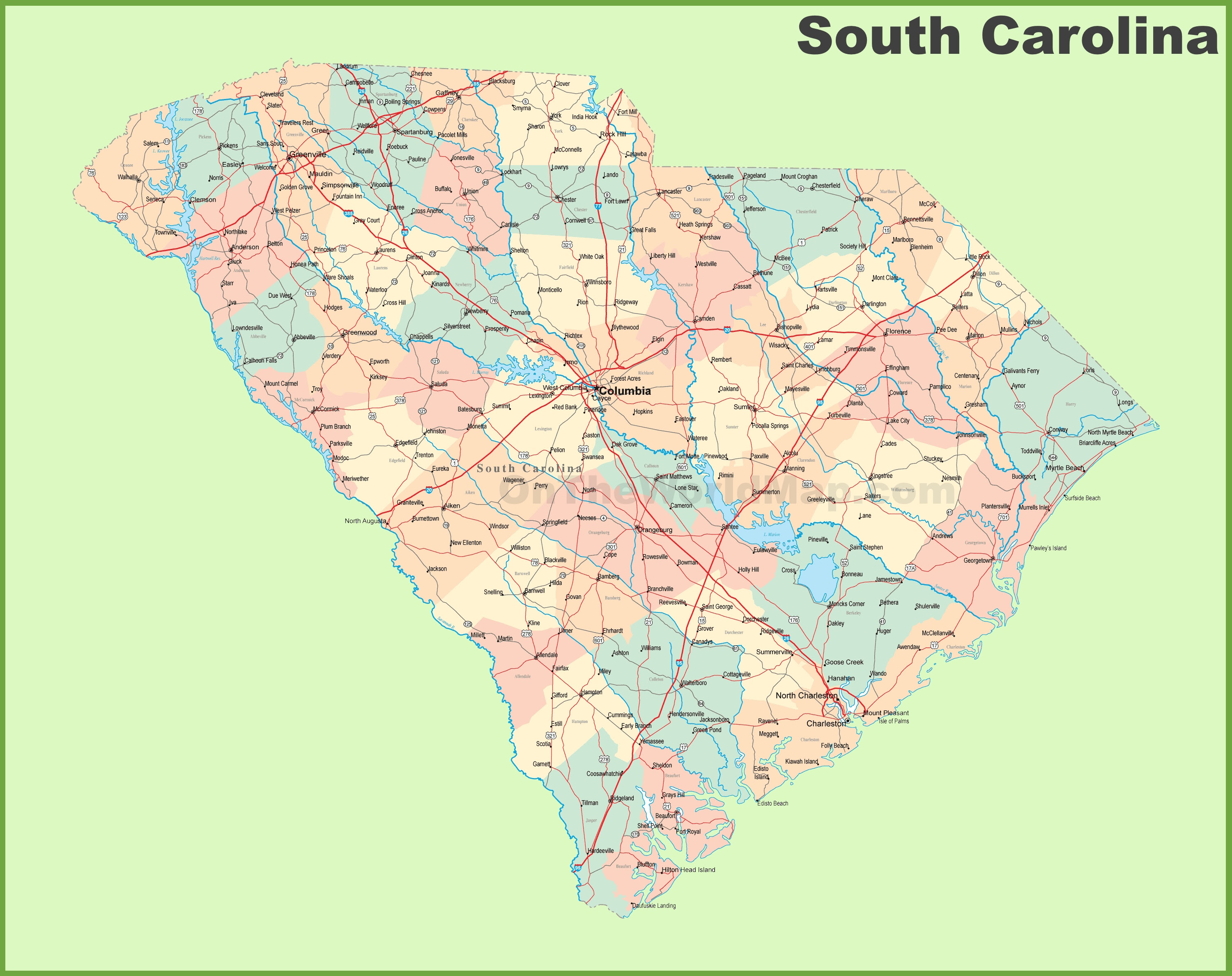 Road Map Of South Carolina With Cities