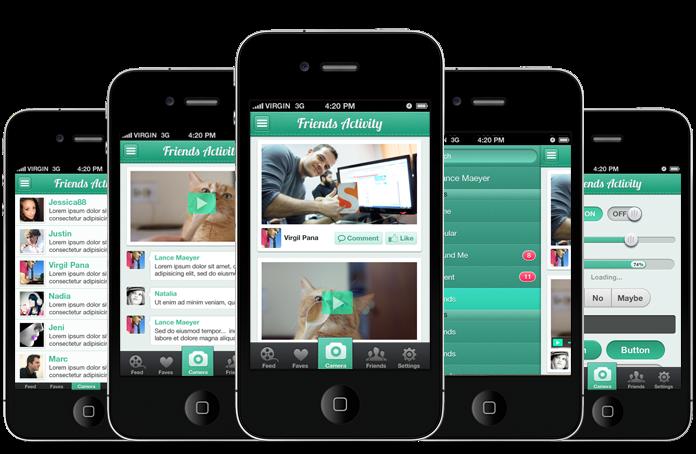 Socioville iPhone and iOS App UI Design Templates