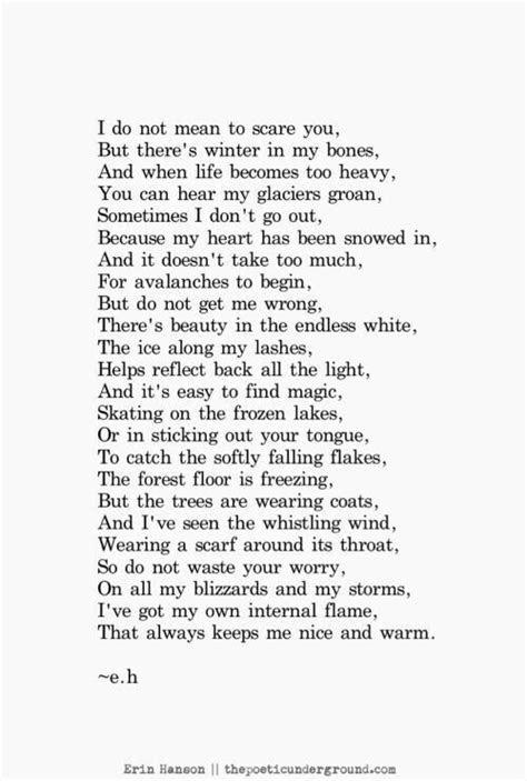 Winter in my bones   for me   Poetry quotes, Erin hanson