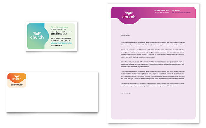 Church Business Card & Letterhead Template - Word & Publisher