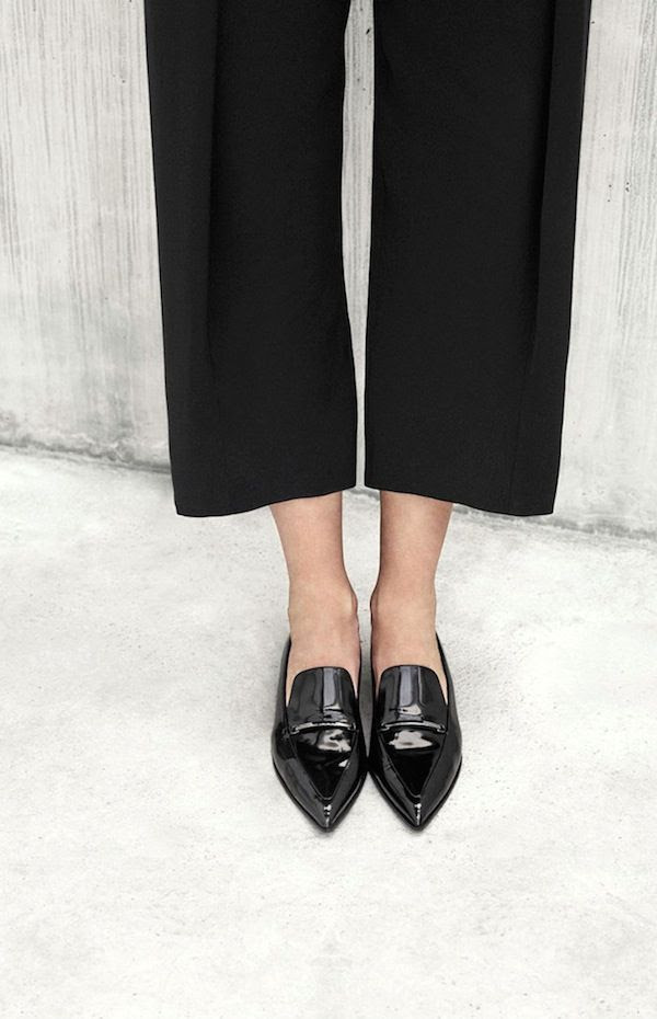 Le Fashion Blog Black Patent Pointed Toe Loafers Flats Fall Style Cropped Black Pants Culottes Work Wear Office Look