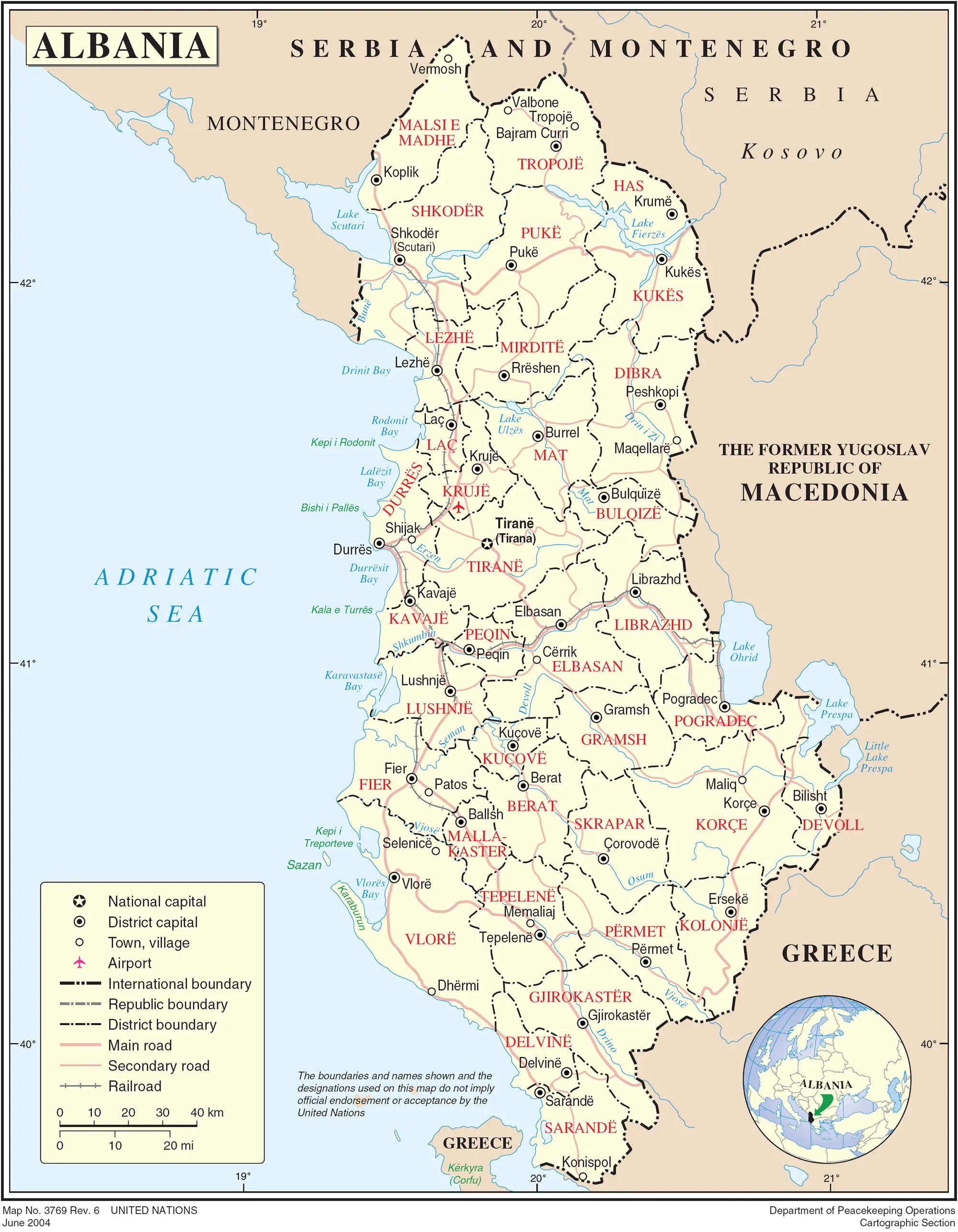 Albania Political Map  E2 80 A2 Mapsof Net