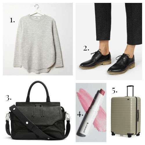 HOPE Sweater - Everlane Shoes - Rag and Bone Handbag - Glossier Lipstick - Away Suitcase