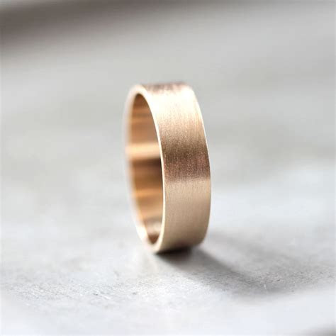 mens gold wedding band mm wide brushed flat
