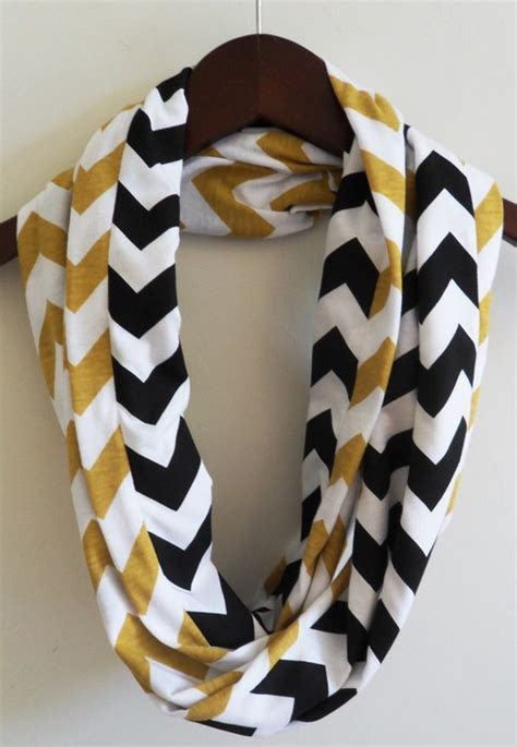 Infinity Scarf  gold and black chevron on Storenvy