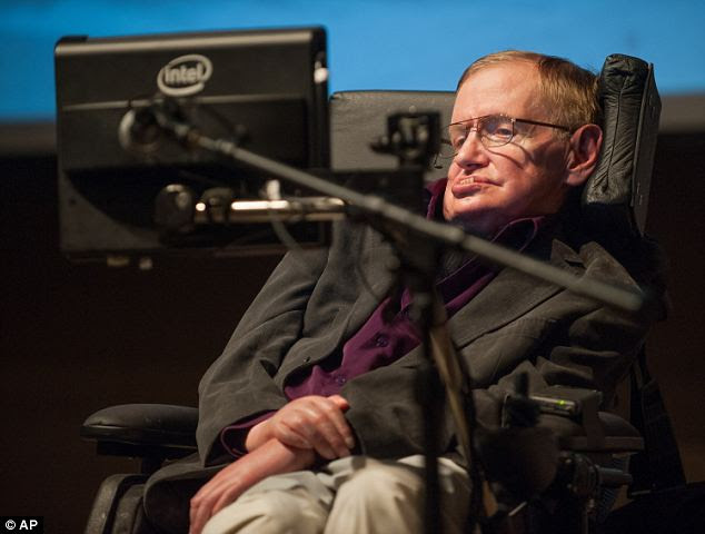No need for God: Stephen Hawking, pictured at an earlier event in California this month, drew thousands of science fans to hear him speak on the origins of the Universe at the California Institute of Technology