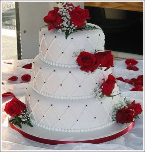 red and white rose wedding cake ideas   Google Search