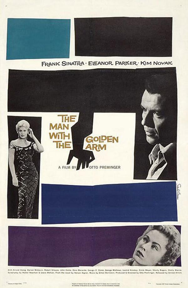 """Cartel para """"El hombre del brazo de oro"""" de Otto Preminger. Diseño de Saul Bass"""