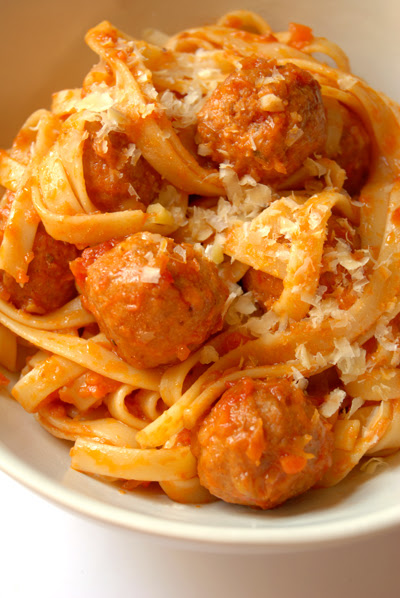 fettucine with meatballs