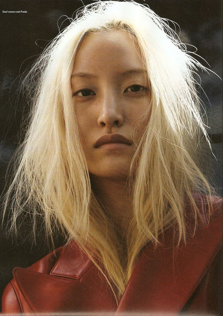 LE FASHION BLOG DAUL KIM LEOPARD AND LEATHER I-D MAGAZINE EDITORIAL PHOTOGRAPHER WILL DAVIDSON STYLIST ERIKA KURIHARA 2009 BLEACH BLONDE HAIR NATURAL BEAUTY NO MAKE UP RED LEATHER PRADA COAT 3 photo LEFASHIONBLOGDAULKIMLEOPARDANDLEATHER3.jpg