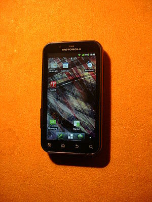 English: Motorola Defy running CyanogenMod 7